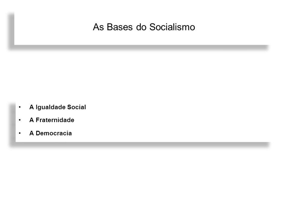 As Bases do Socialismo A Igualdade Social A Fraternidade A Democracia
