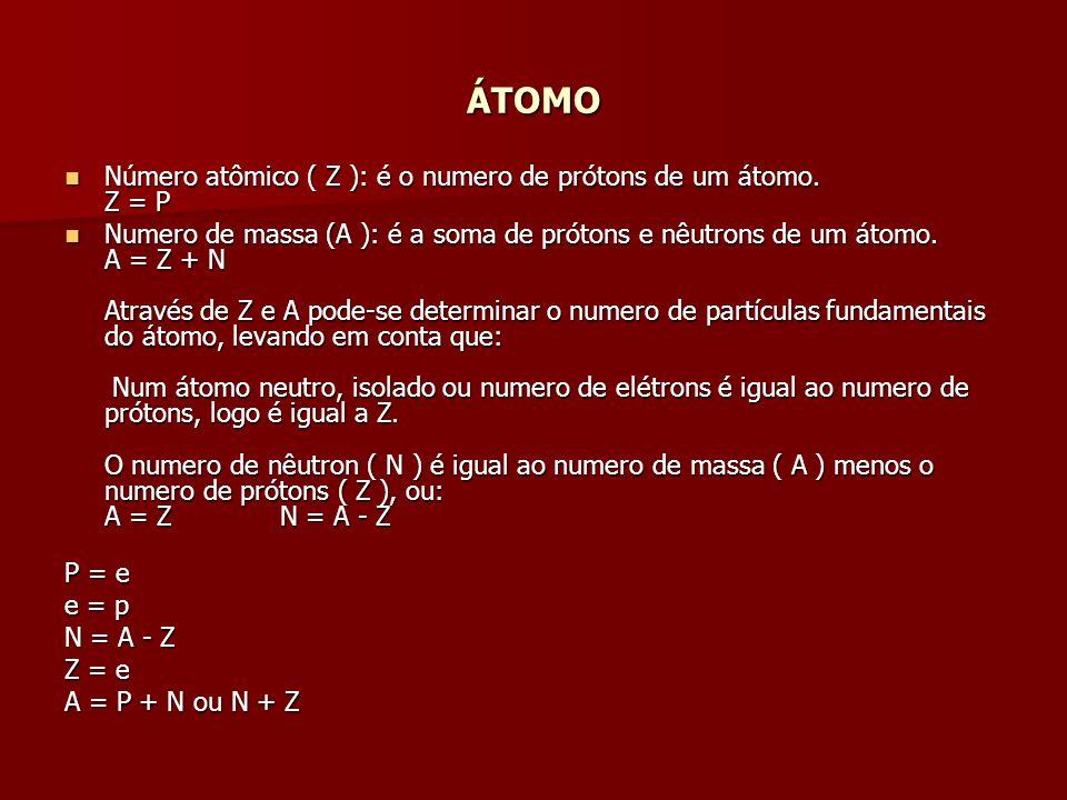 ÁTOMO Número atômico ( Z ): é o numero de prótons de um átomo. Z = P