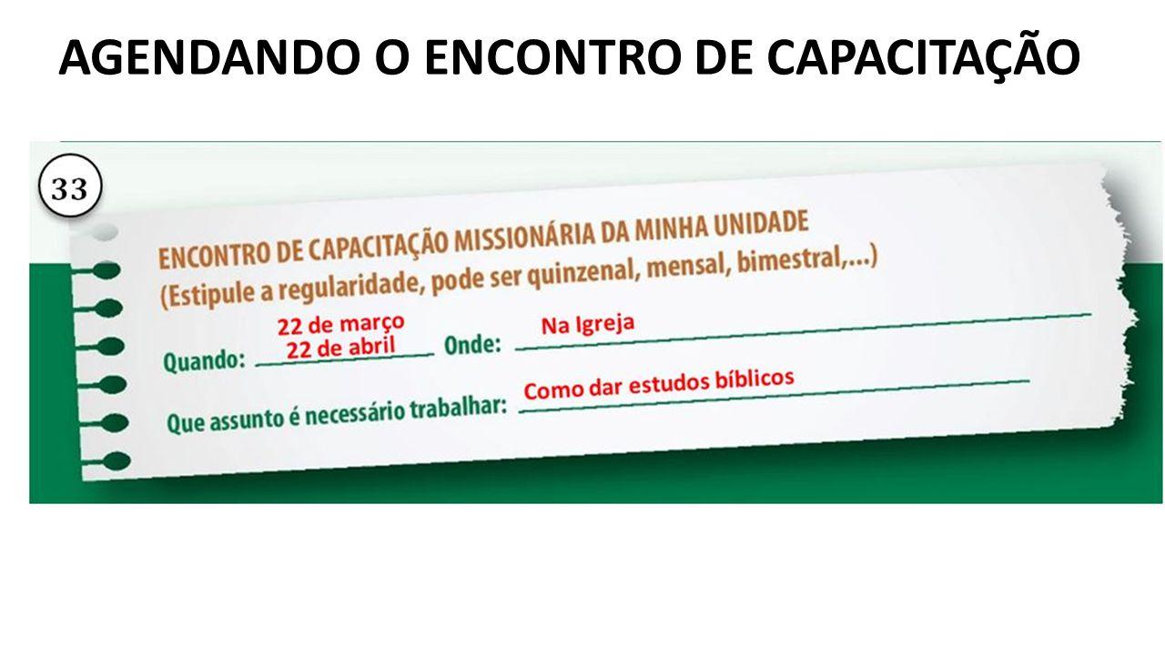 AGENDANDO O ENCONTRO DE CAPACITAÇÃO