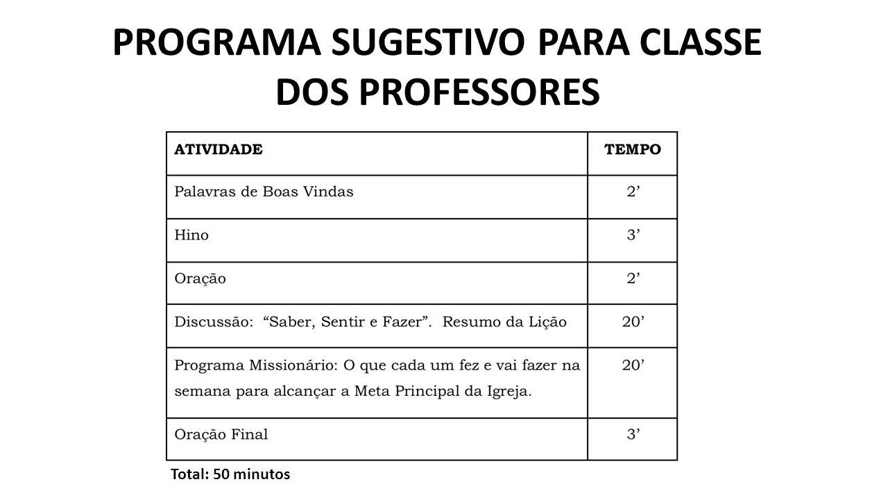 PROGRAMA SUGESTIVO PARA CLASSE