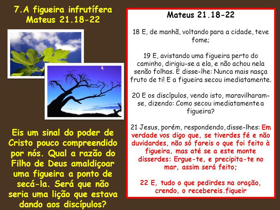 7.A figueira infrutífera Mateus 21.18-22