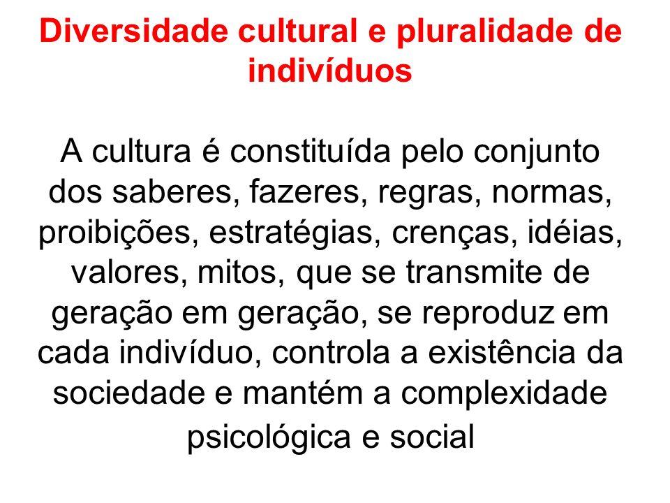 Diversidade cultural e pluralidade de indivíduos A cultura é constituída pelo conjunto dos saberes, fazeres, regras, normas, proibições, estratégias, crenças, idéias, valores, mitos, que se transmite de geração em geração, se reproduz em cada indivíduo, controla a existência da sociedade e mantém a complexidade psicológica e social