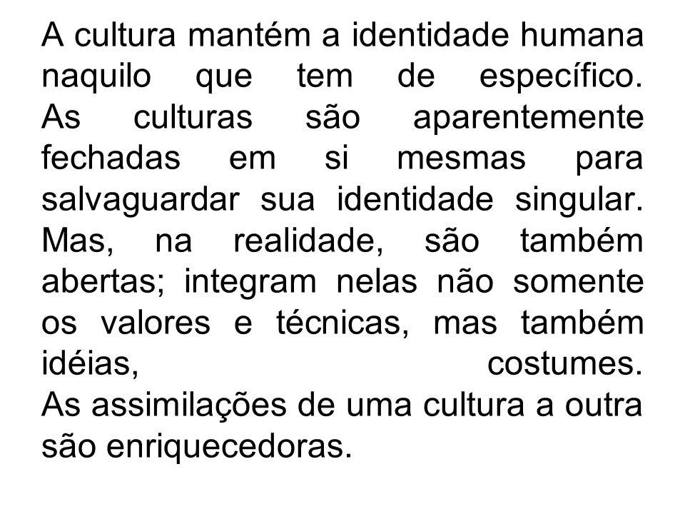 A cultura mantém a identidade humana naquilo que tem de específico