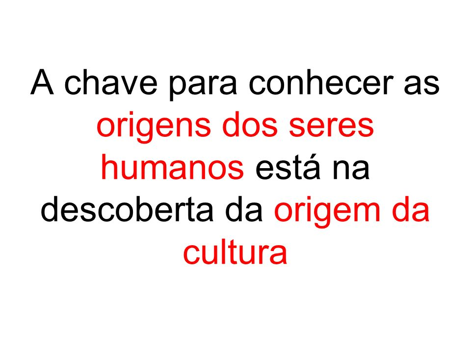 A chave para conhecer as origens dos seres humanos está na descoberta da origem da cultura