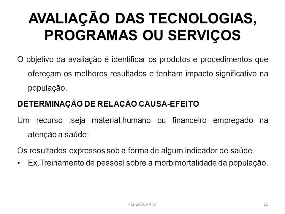 AVALIAÇÃO DAS TECNOLOGIAS, PROGRAMAS OU SERVIÇOS