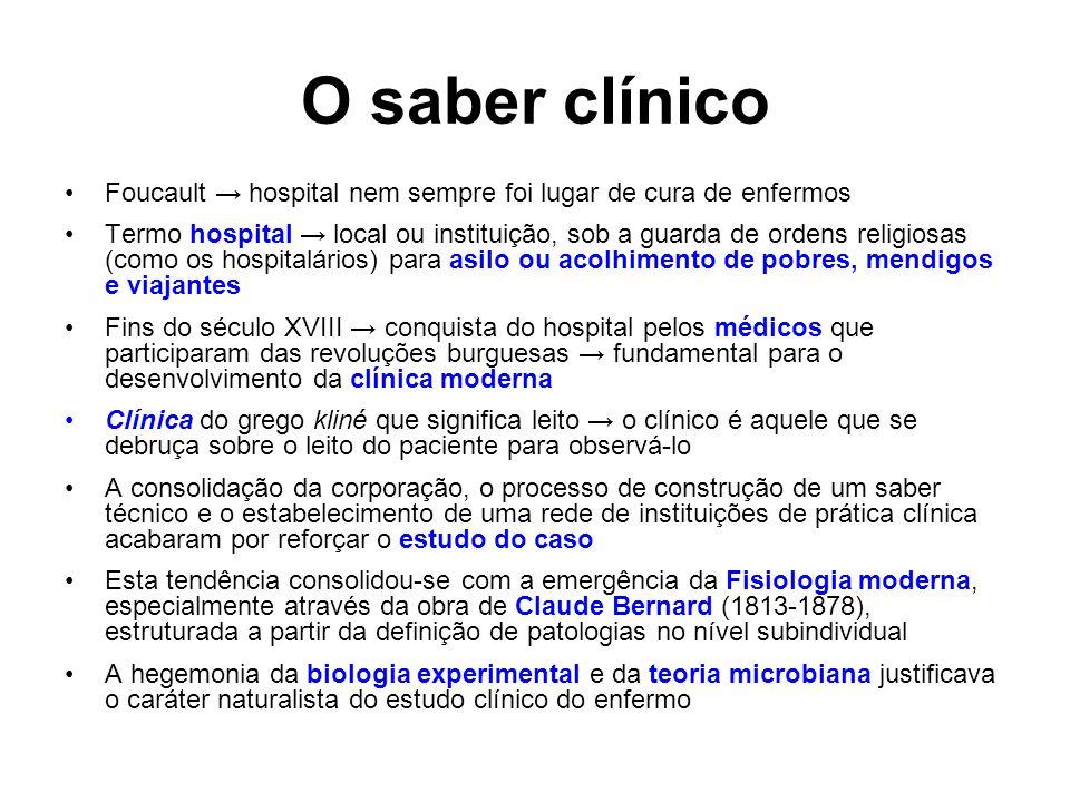 O saber clínico Foucault → hospital nem sempre foi lugar de cura de enfermos.