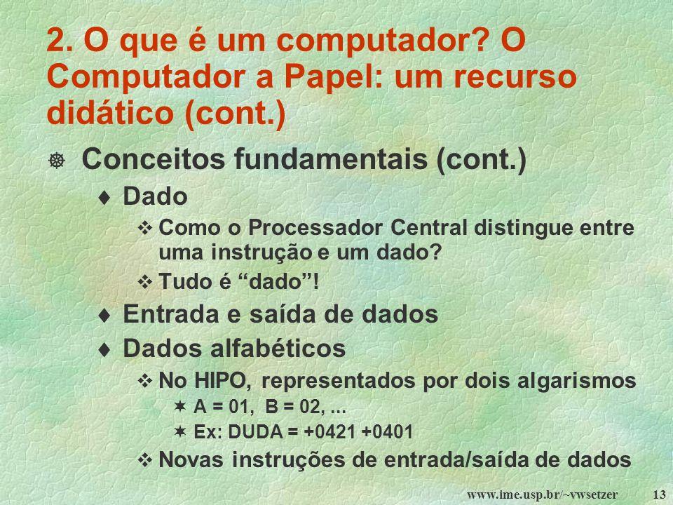 2. O que é um computador O Computador a Papel: um recurso didático (cont.)