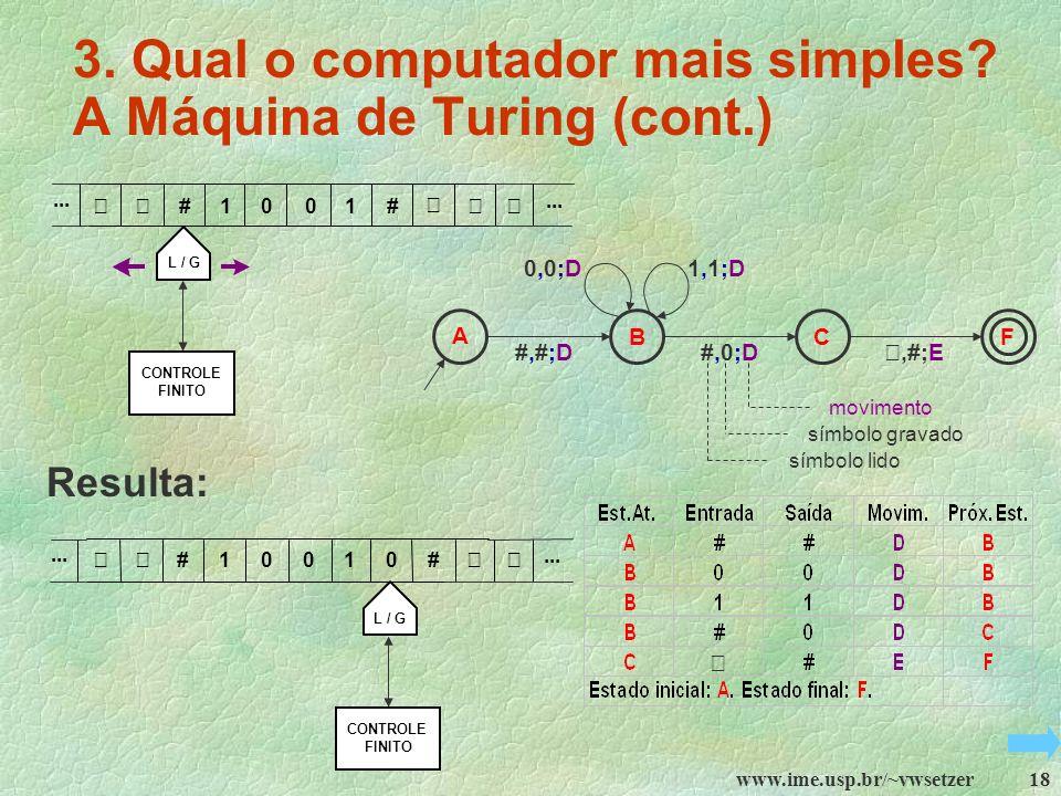 3. Qual o computador mais simples A Máquina de Turing (cont.)