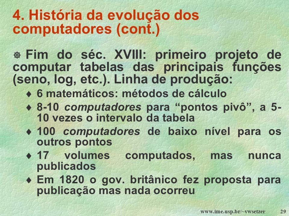 4. História da evolução dos computadores (cont.)