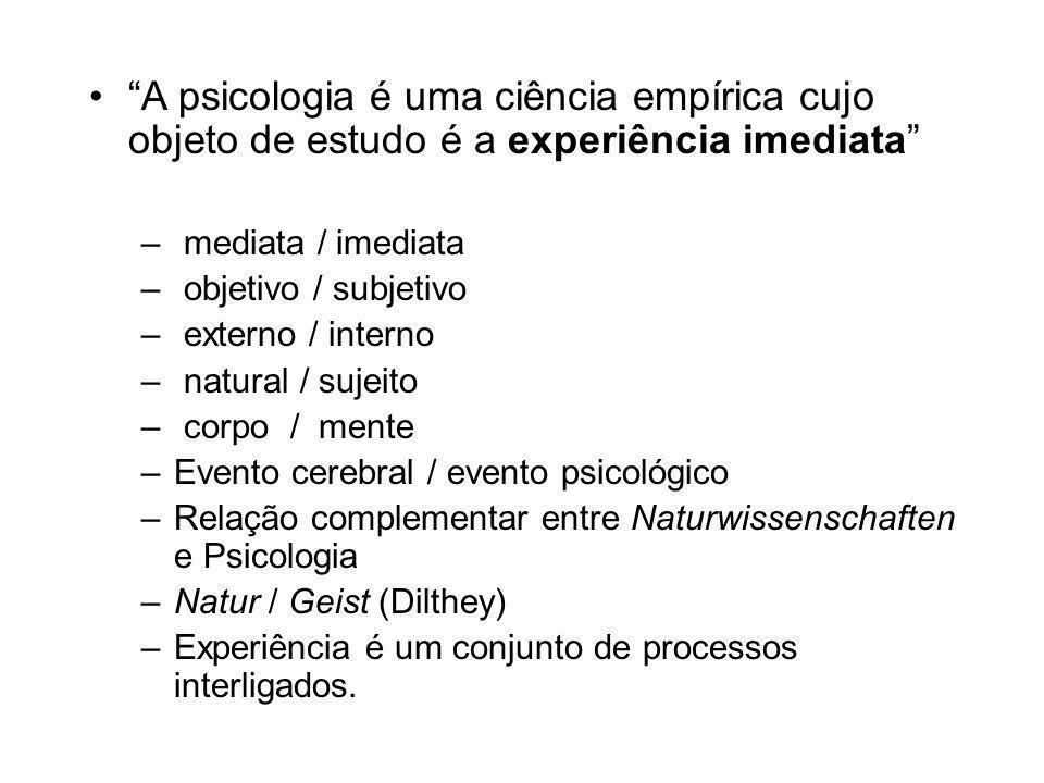 A psicologia é uma ciência empírica cujo objeto de estudo é a experiência imediata