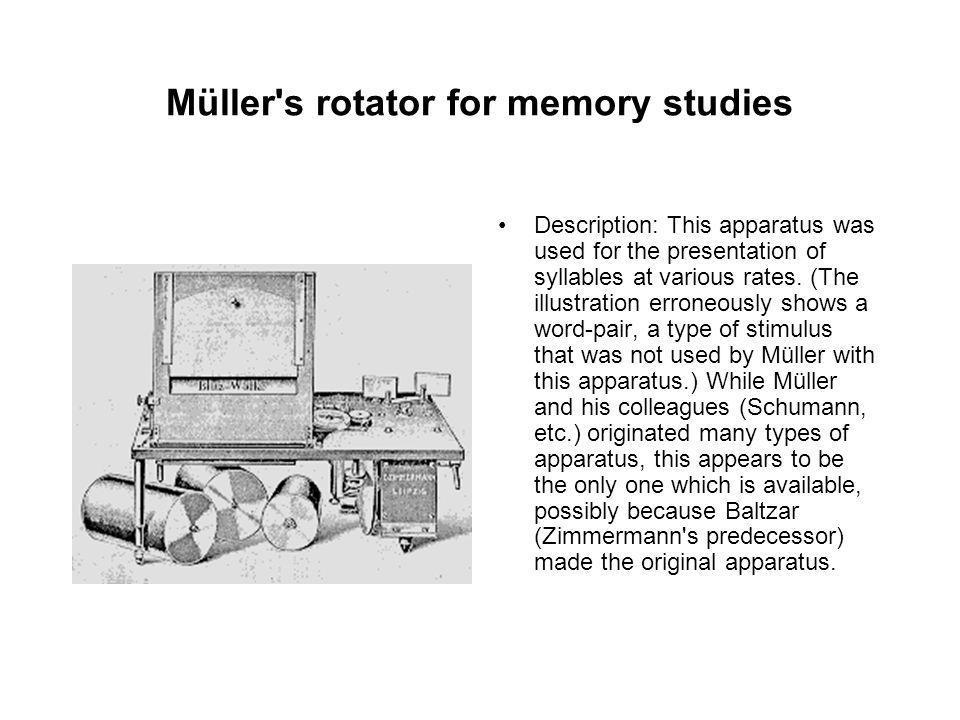 Müller s rotator for memory studies