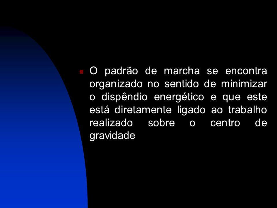 O padrão de marcha se encontra organizado no sentido de minimizar o dispêndio energético e que este está diretamente ligado ao trabalho realizado sobre o centro de gravidade