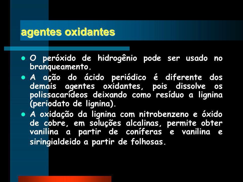 agentes oxidantes O peróxido de hidrogênio pode ser usado no branqueamento.