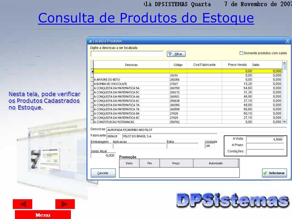 Consulta de Produtos do Estoque