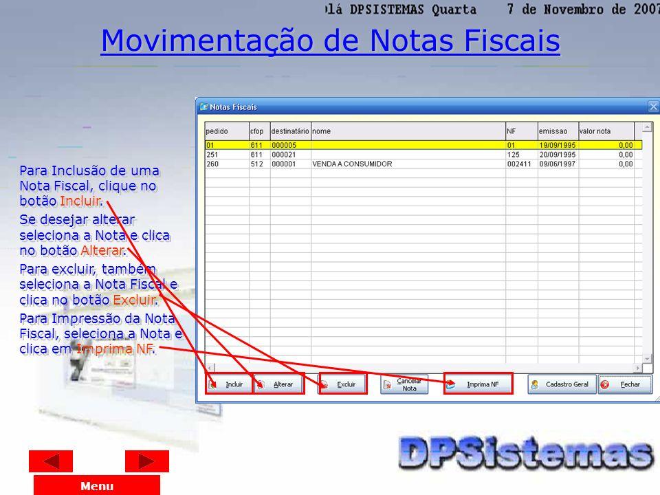 Movimentação de Notas Fiscais