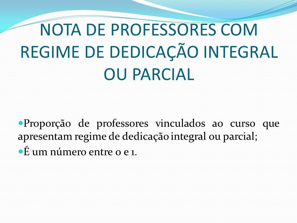 NOTA DE PROFESSORES COM REGIME DE DEDICAÇÃO INTEGRAL OU PARCIAL