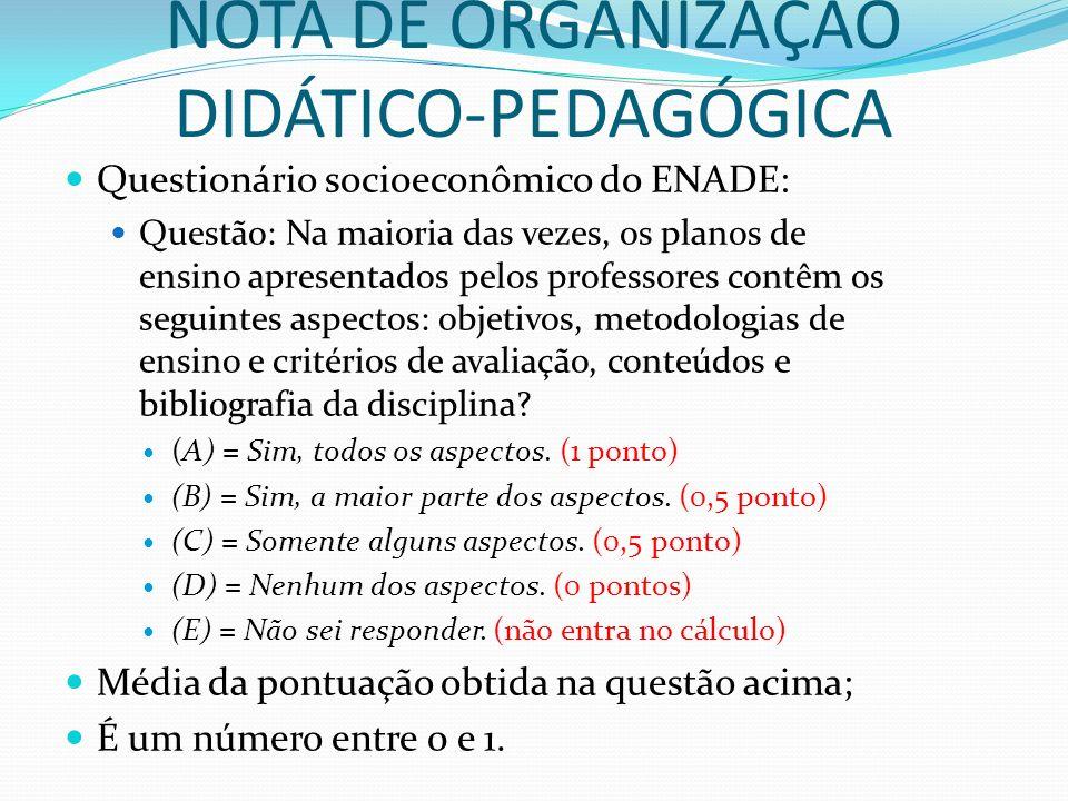 NOTA DE ORGANIZAÇÃO DIDÁTICO-PEDAGÓGICA