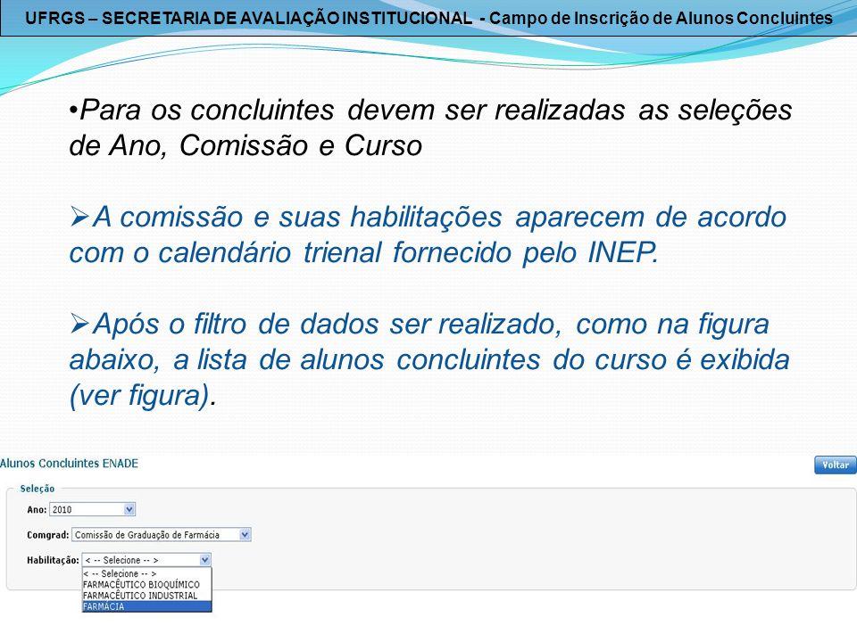 UFRGS – SECRETARIA DE AVALIAÇÃO INSTITUCIONAL - Campo de Inscrição de Alunos Concluintes