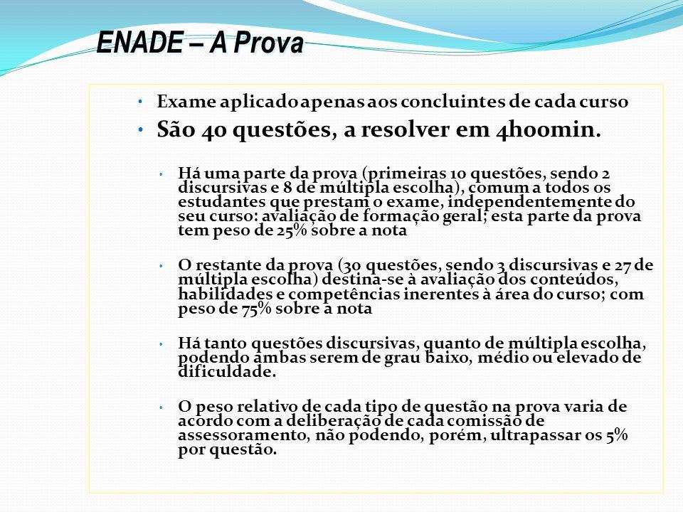 ENADE – A Prova São 40 questões, a resolver em 4h00min.