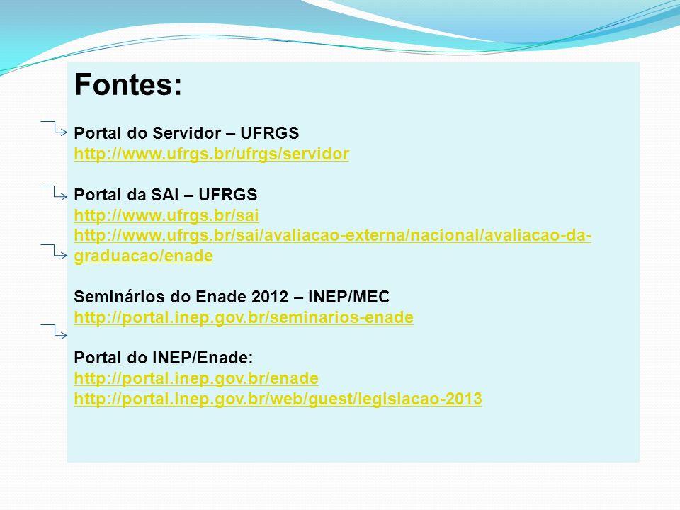 Fontes: Portal do Servidor – UFRGS http://www.ufrgs.br/ufrgs/servidor