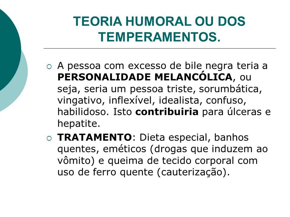 TEORIA HUMORAL OU DOS TEMPERAMENTOS.