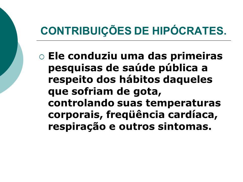 CONTRIBUIÇÕES DE HIPÓCRATES.