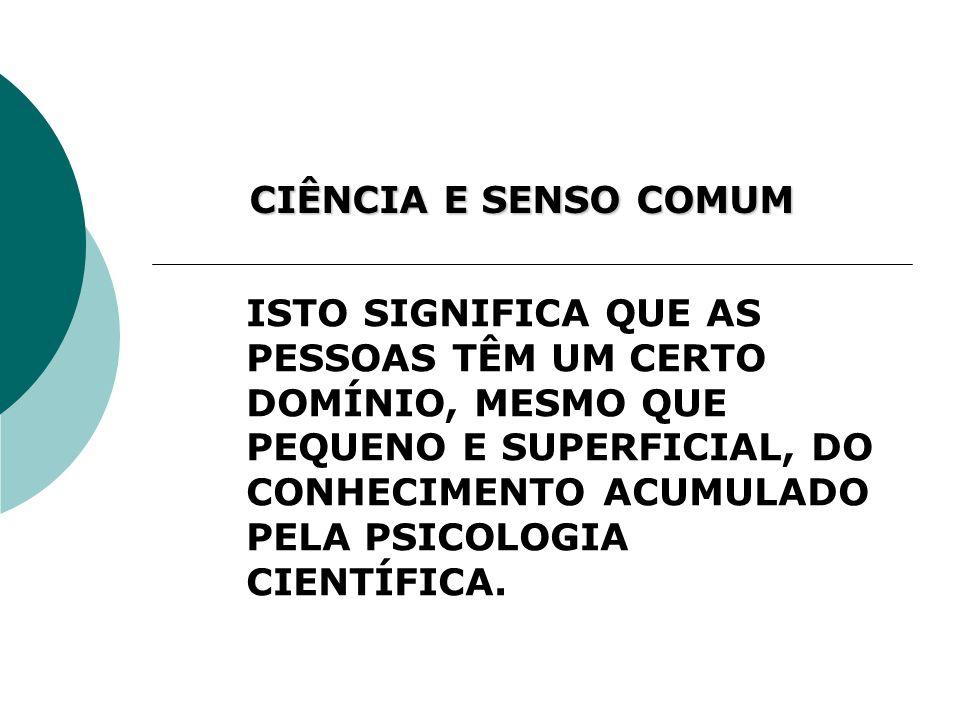 CIÊNCIA E SENSO COMUM