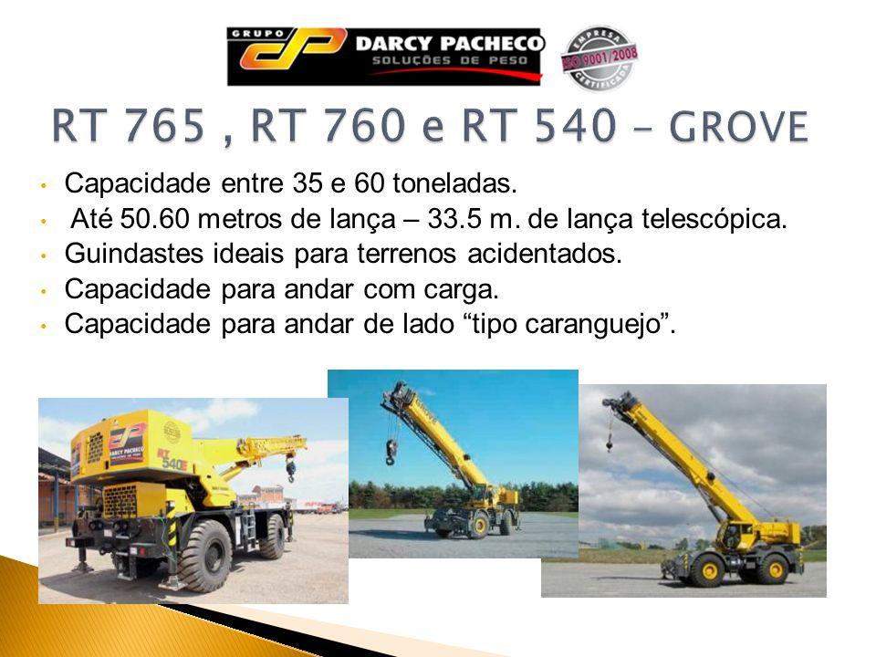 RT 765 , RT 760 e RT 540 - GROVE Capacidade entre 35 e 60 toneladas.