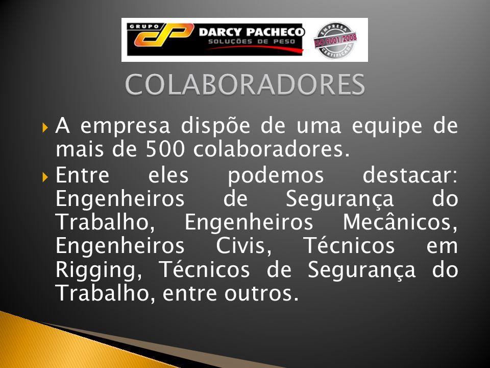 COLABORADORESA empresa dispõe de uma equipe de mais de 500 colaboradores.