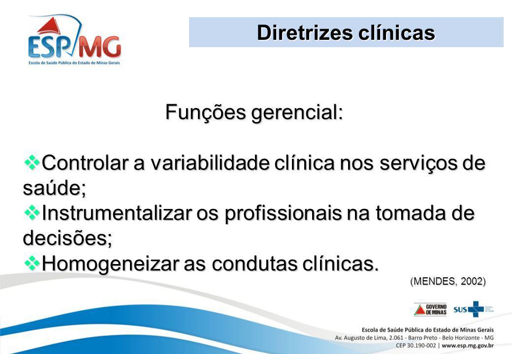 Controlar a variabilidade clínica nos serviços de saúde;