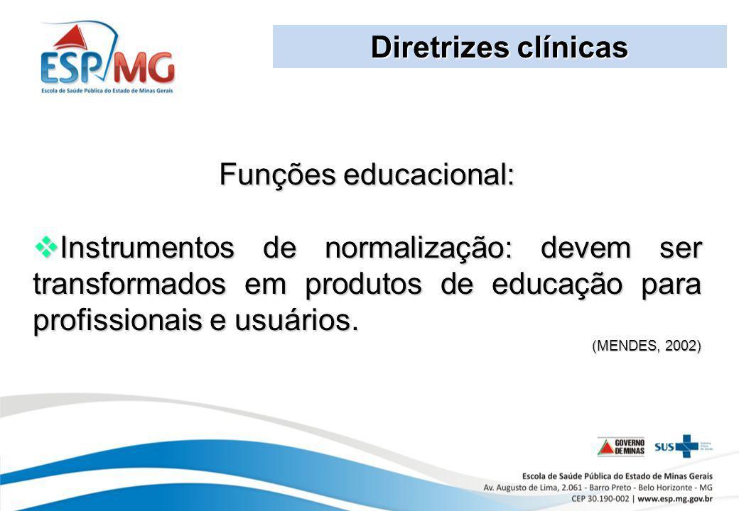 Diretrizes clínicas Funções educacional: