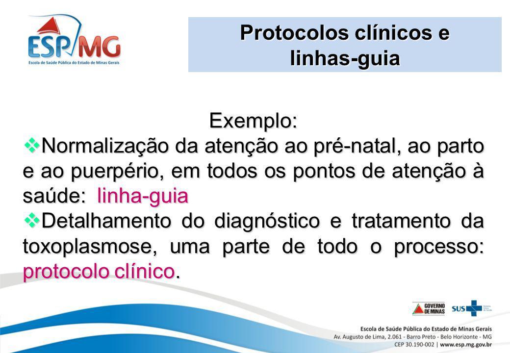 Protocolos clínicos e linhas-guia. Exemplo: