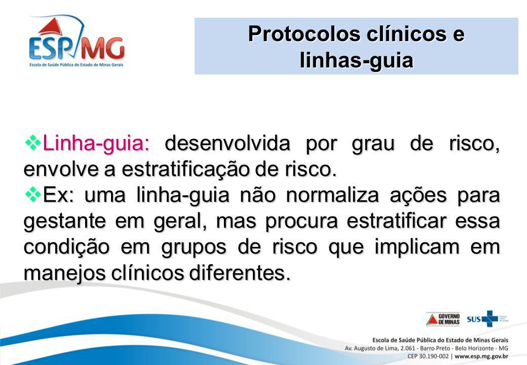 Protocolos clínicos e linhas-guia. Linha-guia: desenvolvida por grau de risco, envolve a estratificação de risco.