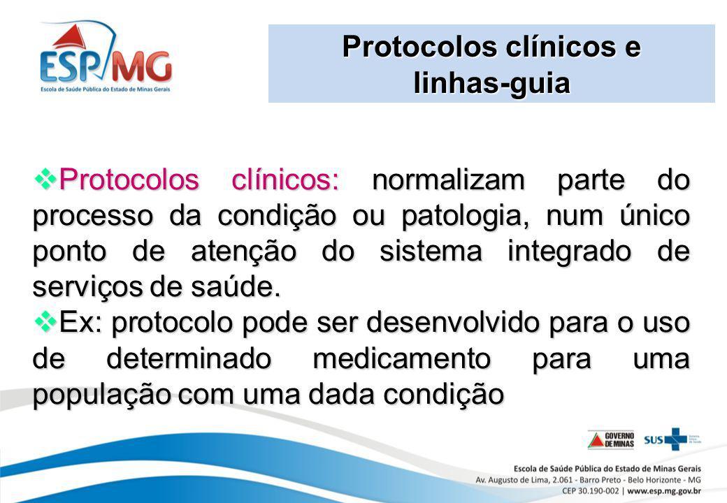 Protocolos clínicos e linhas-guia.