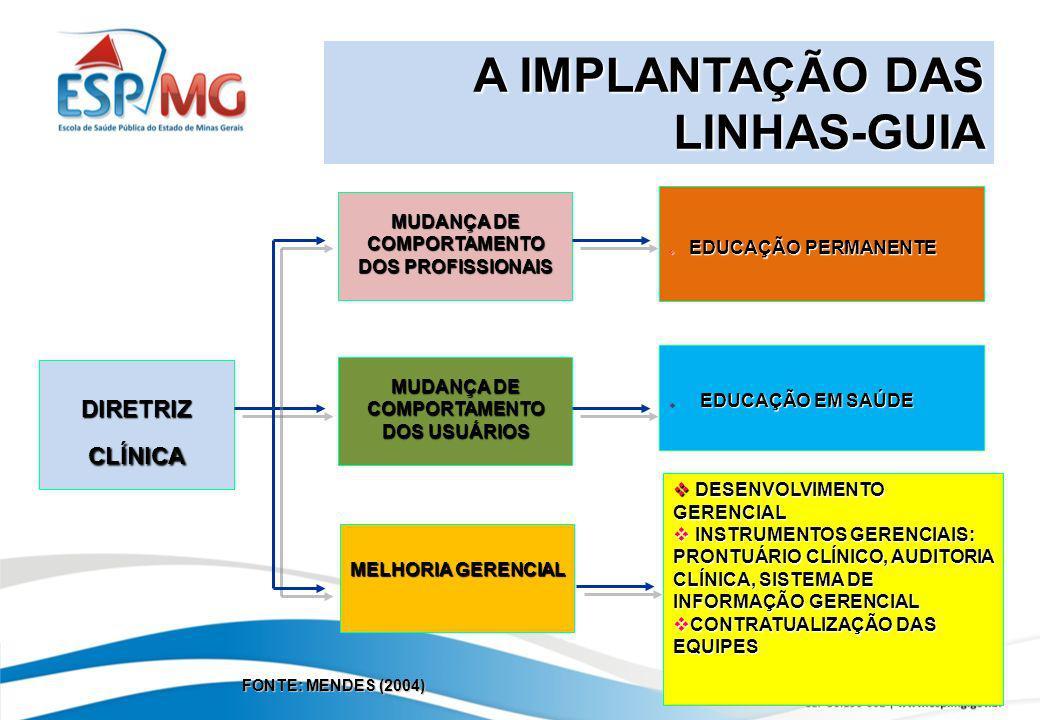 A IMPLANTAÇÃO DAS LINHAS-GUIA