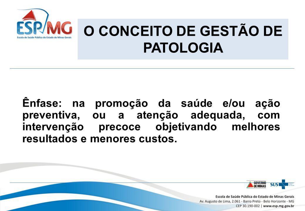 O CONCEITO DE GESTÃO DE PATOLOGIA