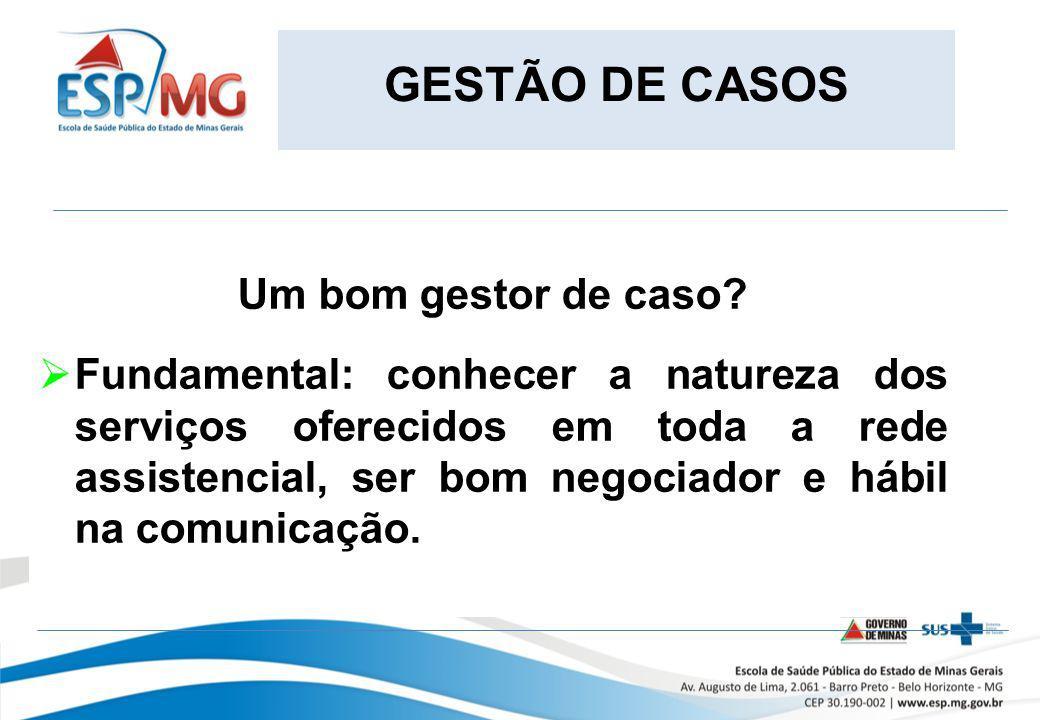 GESTÃO DE CASOS Um bom gestor de caso