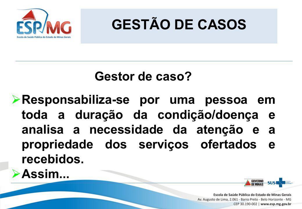 GESTÃO DE CASOS Gestor de caso