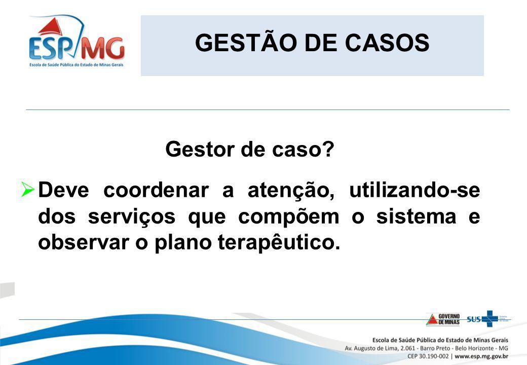 GESTÃO DE CASOS Gestor de caso Deve coordenar a atenção, utilizando-se dos serviços que compõem o sistema e observar o plano terapêutico.