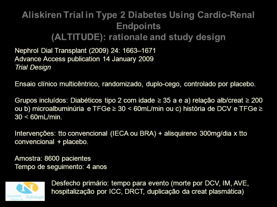 Aliskiren Trial in Type 2 Diabetes Using Cardio-Renal Endpoints (ALTITUDE): rationale and study design