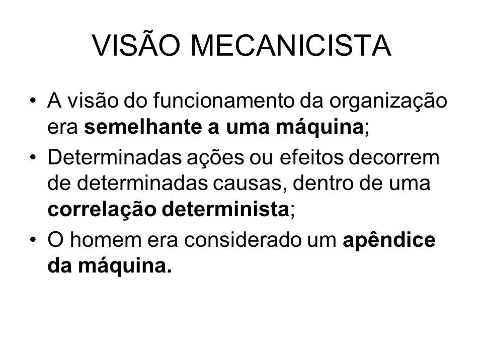 VISÃO MECANICISTA A visão do funcionamento da organização era semelhante a uma máquina;