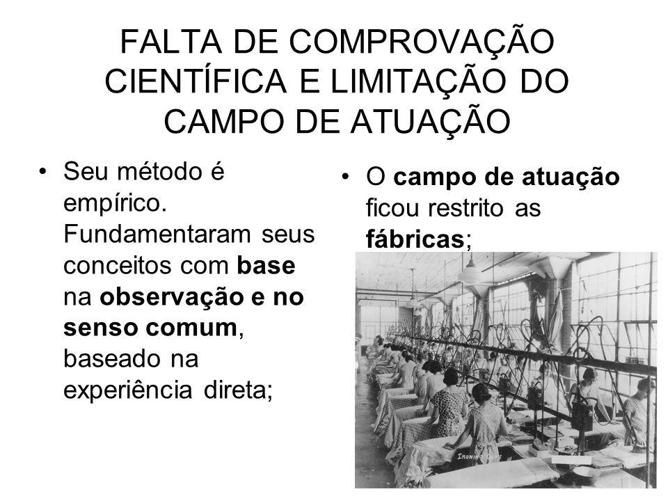 FALTA DE COMPROVAÇÃO CIENTÍFICA E LIMITAÇÃO DO CAMPO DE ATUAÇÃO