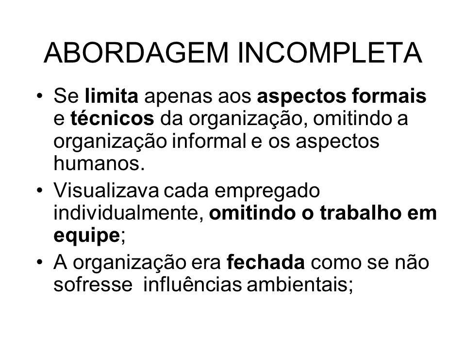 ABORDAGEM INCOMPLETA Se limita apenas aos aspectos formais e técnicos da organização, omitindo a organização informal e os aspectos humanos.