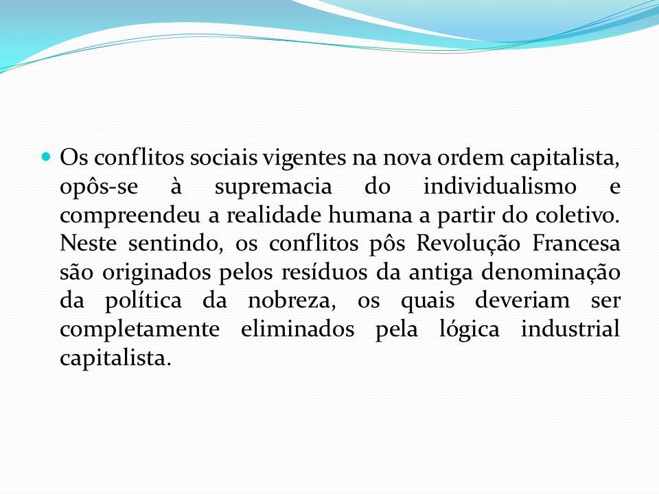 Os conflitos sociais vigentes na nova ordem capitalista, opôs-se à supremacia do individualismo e compreendeu a realidade humana a partir do coletivo.