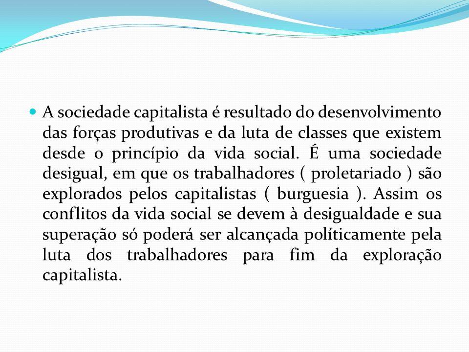 A sociedade capitalista é resultado do desenvolvimento das forças produtivas e da luta de classes que existem desde o princípio da vida social.