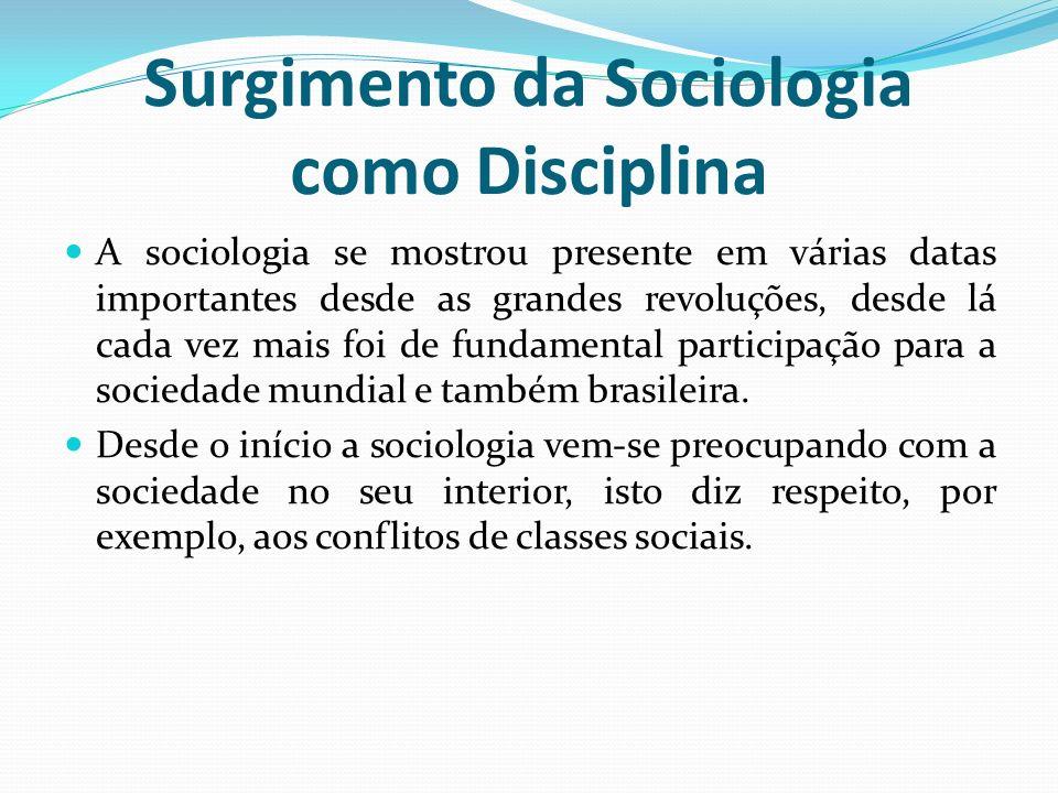 Surgimento da Sociologia como Disciplina