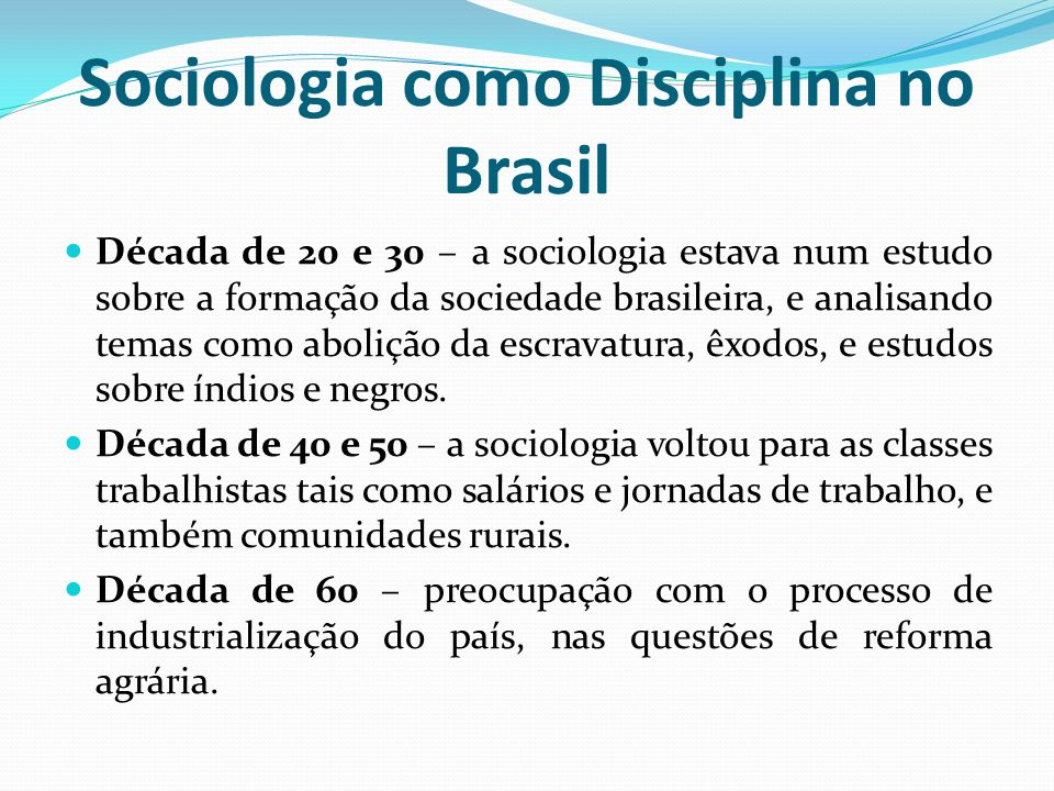 Sociologia como Disciplina no Brasil