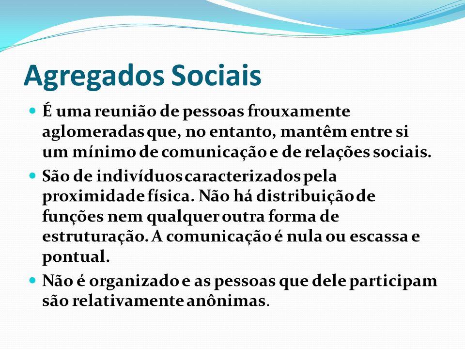Agregados Sociais É uma reunião de pessoas frouxamente aglomeradas que, no entanto, mantêm entre si um mínimo de comunicação e de relações sociais.