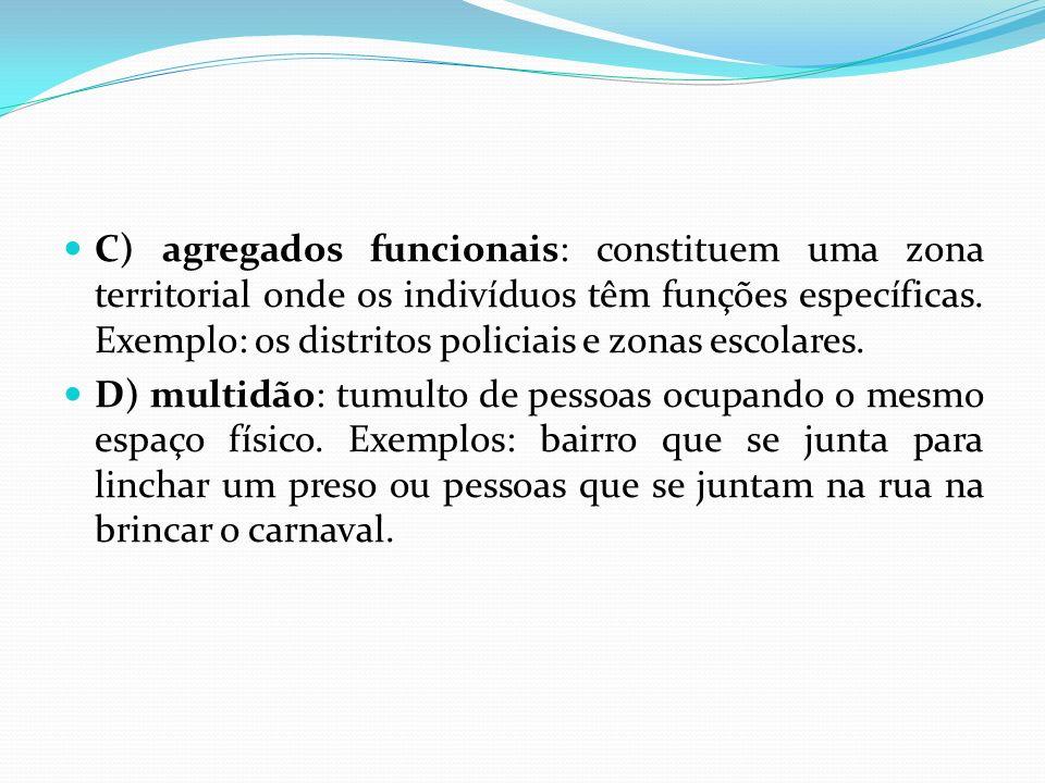 C) agregados funcionais: constituem uma zona territorial onde os indivíduos têm funções específicas. Exemplo: os distritos policiais e zonas escolares.