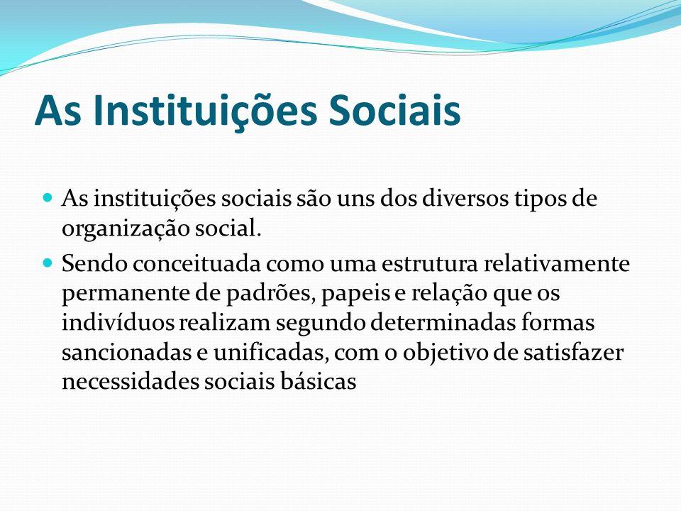 As Instituições Sociais